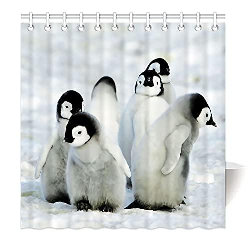 Zomer Duschvorhang 180 x 200 cm Textil Waschbar Anti-Schimmel Badewanne Vorhang Pinguin Weiß