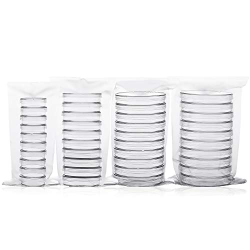 40 Pack Sterile Plastic Petri Dishes with Lid - Contains 10Pcs 100mm Dia,90mm Dia,60mm Dia,35mm Dia x 15mm