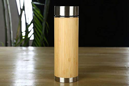 Jusemao Botella de agua de acero inoxidable de bambú de estilo chino 450ml-bambú informó safety_450ml