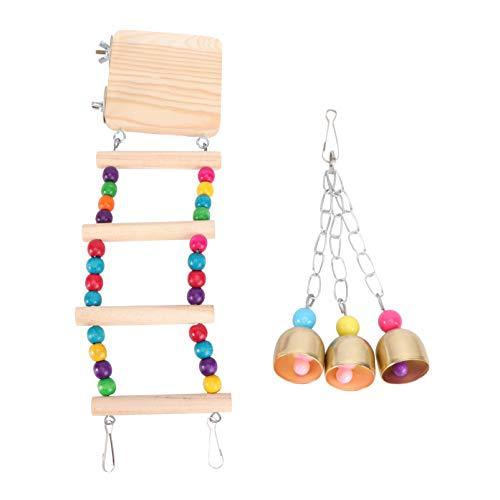 POPETPOP 3 peças Ponte de Escada de Pássaros de Madeira para Hamster Ratos Escalada Escadas Balanço Brinquedos para Calopatiel Cinza Papagaio Canário Cardeal Budgie do Norte