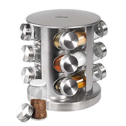 STONELINE 16968 Étagère à épices avec 12 Bouteilles en Verre Batterie de Cuisine Aspect Acier Inoxydable