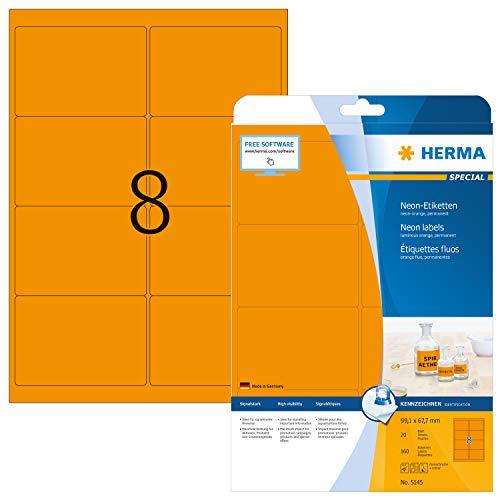 HERMA 5145 Neon-Etiketten DIN A4 (99,1 x 67,7 mm, 20 Blatt, Papier, matt) selbstklebend, bedruckbar, permanent haftende Farbetiketten, 160 Klebeetiketten, neon-orange
