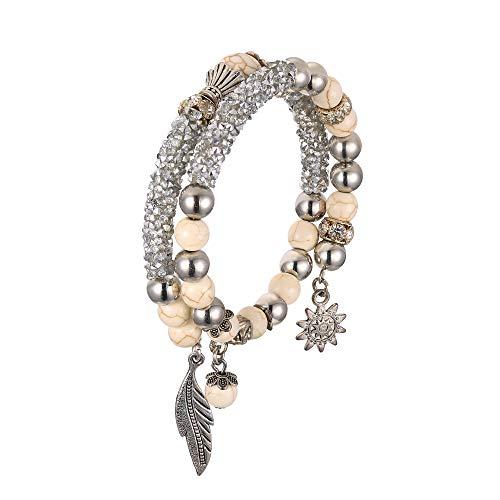 EVER FAITH Damen Armband Vintage Stil Boho Ethnische Perlen Strass Kristall Doppelt Wickeln Armreif Grau