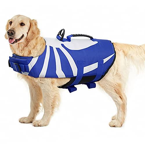 PUMYPOREITY Schwimmweste für Hunde, Rettungsweste Hunde Float Coat Schwimmweste Schwimmtraining mit Rettungsgriff für Kleine, Mittlere, Große Hunde(Blau,XL)