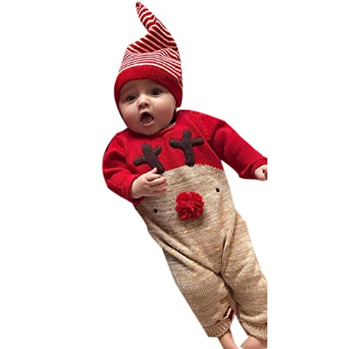 SUDADY Natale Bambino Costume Babbo, 2 PCS Pagliaccetto + Cappello Renna Bambini Pigiama Invernali Body Neonato Tuta Vestito Coordinati Neonata Abbigliamento Natale/Natale Rosso, 12 Mesi