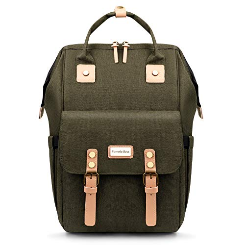 Pomelo Best Diaper Backpack with Changing Mat and Stroller Straps (Army Green)