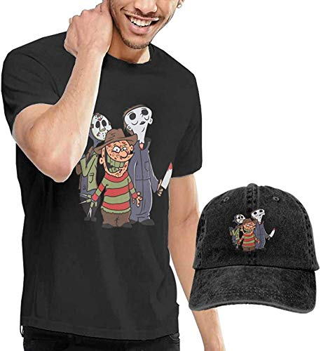 Fssatung Halloween Horror Men's T-Shirt and Hats for Teenager Black,XX-Large