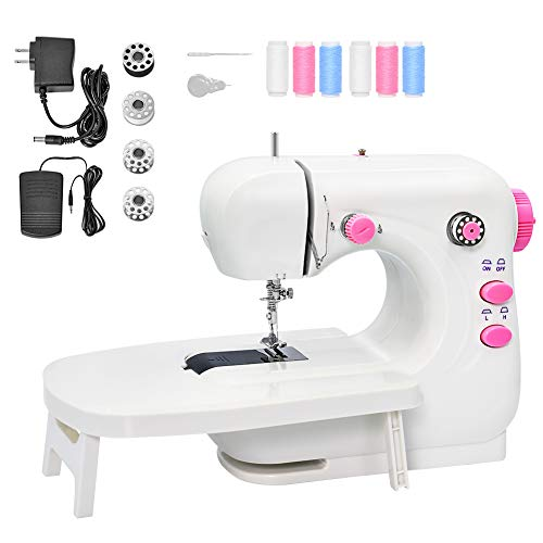 Mini Sewing Machine Portable Electric Sewing Machine for Beginners Lightweight Repairing Tailor Machine with Extension Table Lighting Function Foot Pedal Bobbins Threader WHITE