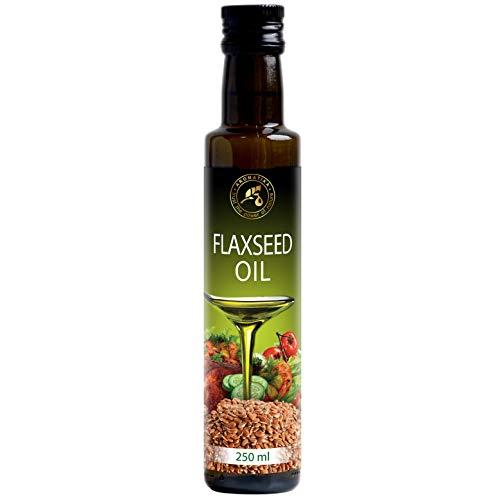 Huile de Lin Alimentaire 250 ml - 100% Pure - Pressé à Froid - Bouteille en Verre - Oméga 3 6 - Repas Sains - Complément Nutritionnel Idéal - Nature Cuisine - Flaxseed Oil