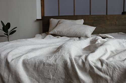 Linen Duvet Comforter Cover - Buttons or Zipper Closure - in Natural, White, Grey Green or Blue - with Inner Ties to Fix Comforter