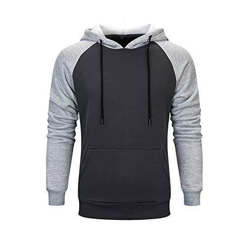 LBL Sweat-Shirt Homme à Capuche Casual Sport Poches Kangourou de Hoodie Homme Manches Longues Gris Foncé 2XL