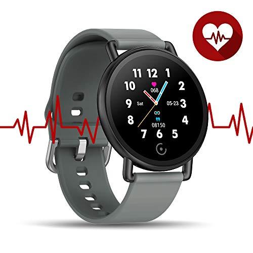 WalkerFit Fitness Tracker, Fitnessarmband mit Schlaf und Pulsuhr, Grau