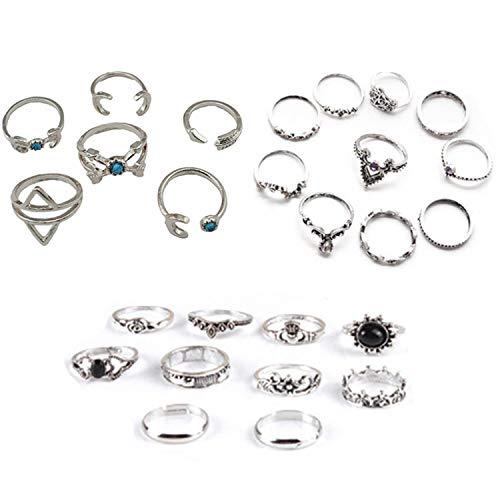 26 Stücke Midi Ring Böhmischen Knuckle Ring Sets Mode Finger Vintage Silber Stapelbar Ringe für...
