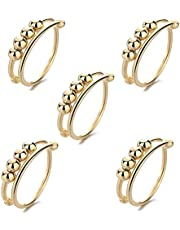 Yikeyuan Fidget ringar för rädsla kvinnor – 5/10 stycken ångestring med pärlor stresslindring ring, spinnring, justerbar silverring för kvinnor och män