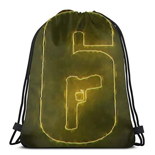 R-ainbow Six S-iege bolsa de gimnasio con cordón para niños de la escuela de PE, bolsa de deporte, mochila de libro, saco de natación