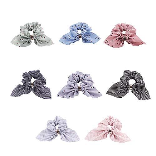 Qinlee 8 Stücke Bowknot Haargummis Hasenohren Haargummis für Damen Mädchen Chiffon Seide Haarband Pferdeschwanz Halter Haargummi Krawatten Haarbänder Haarschmuck mit Blumen