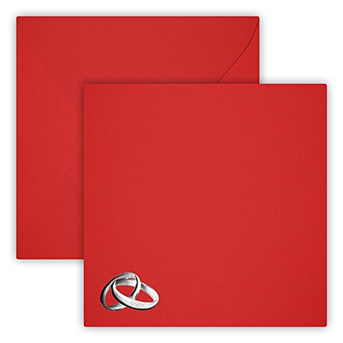 25 vierkante bruiloft ringen zilver enveloppen 15 x 15 cm 150 x 150 mm rood Sluiting: vochtig hechtend Grammatuur: 120 g/m2