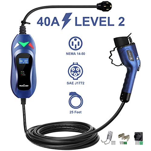 MUSTART Level 2 Portable EV Charger (240 Volt, 25ft Cable, 40 Amp), Electric Vehicle Charger Plug-in EV Charging Station with NEMA 14-50P (Update Version)