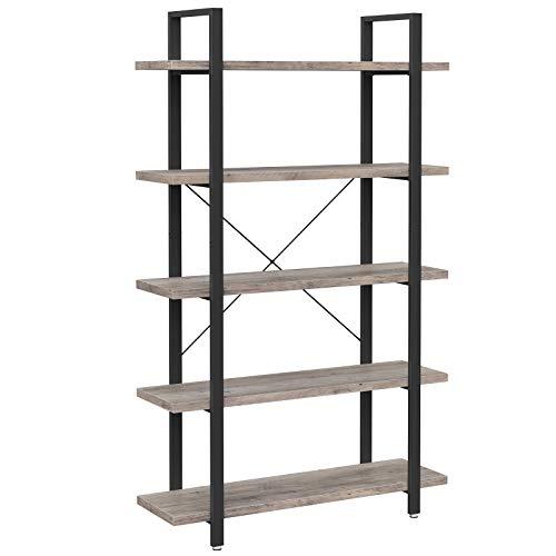VASAGLE Bücherregal, stabiles Standregal mit 5 Regalebenen, Wohnzimmerregal im Industrie-Design, einfacher Aufbau, Wohnzimmer, Schlafzimmer, Büro, Greige-schwarz LLS055B02