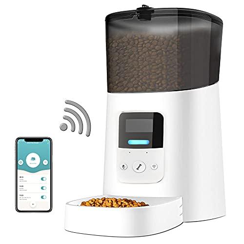 Comedero Automático para Perros y Gatos, 6L WiFi Comedero Automático para Gatos, Dispensador Comida Gatos Perros con App Control, hasta 6 Comidas por Día, Función de Grabación de Sonido