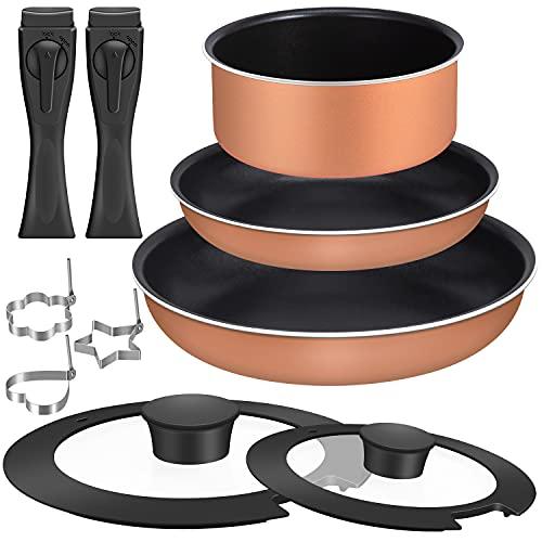 Sumeriy フライパンセット ダイヤモンドコート鍋 ガス火/IH対応 取っ手のとれる ガラス蓋付き 7点 セット (ブラウン)