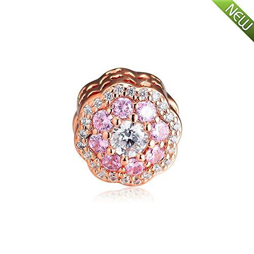 PANDOCCI 2019 primavera rosa oro rosa fiore perlina 925 argento fai da te adatto per originale pandora bracciali moda gioielli di fascino