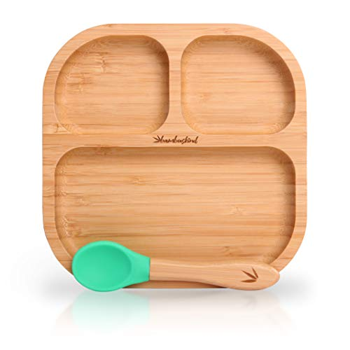 bambuskind® Baby Saugnapf-Teller I Gratis Rezepte-Ebook I mit flexiblem Löffel - Baby-Schale aus nachhaltigem Bambus - Rutschfester hochwertiger Teller für Babys und Kinder in Geschenk-Box