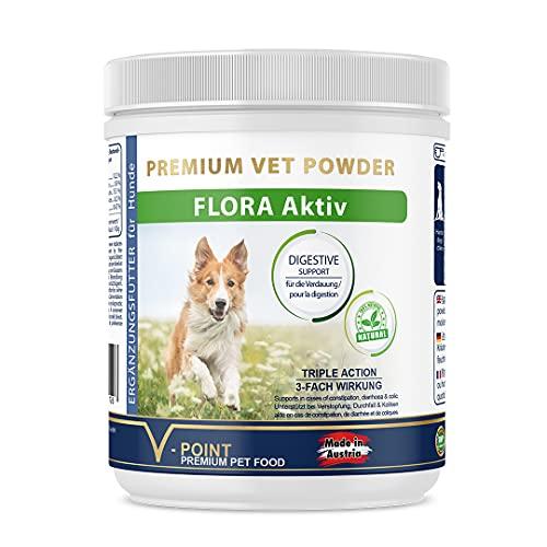 V-POINT Flora Aktiv für Hunde zur Unterstützung bei Durchfall Blähungen Verdauungsprobleme Verstopfung Koliken Magenprobleme Aufbau der Darmflora Darmsanierung natürliches Kräuterpulver (250 g)