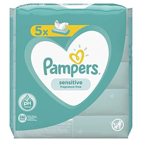 Pampers Toallitas húmedas para bebé sensibles, dermatológicamente probadas, 260 toallitas (5 x 52)