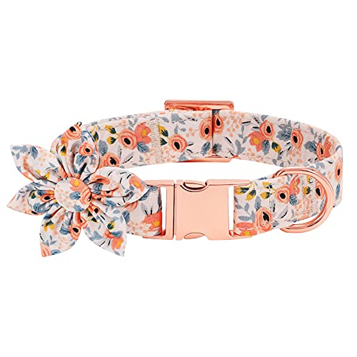 Dog Collar with Flower Cute Pet Collar with Alloy Buckle & D Ring Adjustable Soft Dog Collar for Small Medium Large Girl Dogs Cats