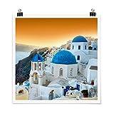 Bilderwelten Poster Sonnenuntergang über Santorin Quadrat,