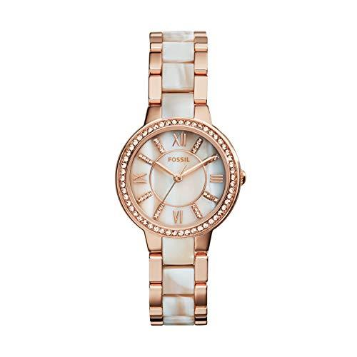Fossil Women's Virginia Quartz Resin Three-Hand Watch, Color: Horn Acetate/Rose Gold (Model: ES3716)
