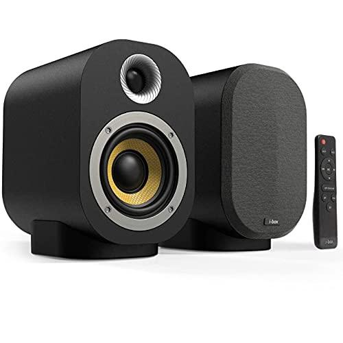 Casse Amplificate Attivi 40W + passivi 20W con Bluetooth, Casse Studio Stereo HiFi Coppia Diffusori Wireless Audio per Giradischi, TV, PC, DJ con Telecomando