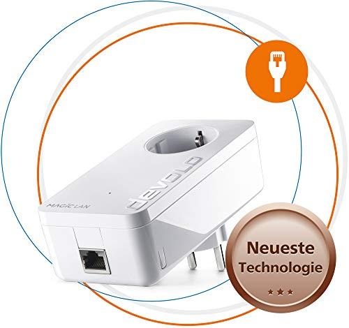 Devolo Magic 1 LAN: krachtige Powerline adapter met tot 1200 Mbit/s voor thuisnetwerk, met geïntegreerd stopcontact, voor magisch internet uit het stopcontact, wit