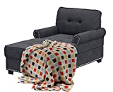Chaise Lounge Chair Indoor 59' Upholstered Fabric Living Room Chaise Lounger Couch for Bedroom Office Recliner Sofa Couch with Nailheads
