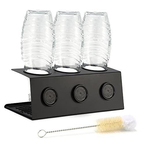 GUANJUNE Rejilla de Secado de Acero Inoxidable de Primera Calidad para Botellas de Chorro de refrescos de Cristal y Correo electrónico Escurridor de Platos Apto para lavavajillas(Negro)