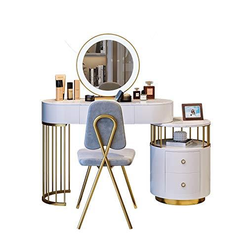 Radiancy Inc tocador de mármol con espejo LED, armario de almacenamiento, taburete, panel de pintura para piano