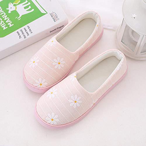 B/H Pantuflas Cómodas,Bolsa Fina Antideslizante para el hogar talón Suela Suave Zapatos de Mes cómodos y Transpirables-B_L