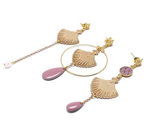 GATSBY 24K pendientes de perlas de resina malva lila dúo o trío regalos personalizados regalo de navidad amigos ceremonia de cumpleaños invitados de boda día de la madre