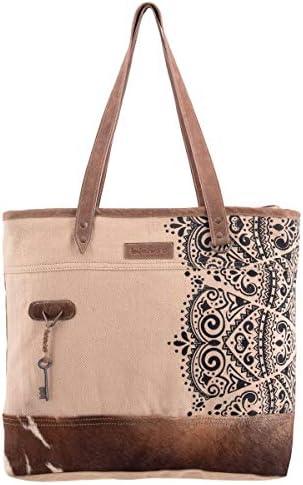 Sixtease Emblem Upcycled Canvas Genuine Leather Tote Bag SB 2282 product image