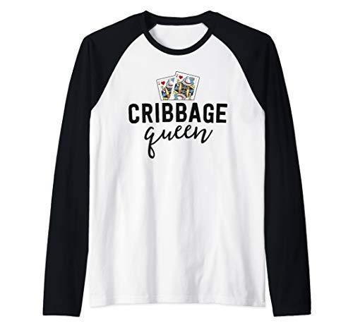 Funny Cribbage Shirt Women Cribbage Queen Player Mom Gift Raglan Baseball Tee
