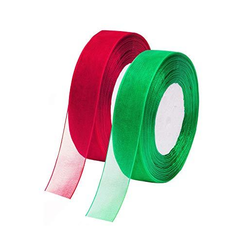 Nastri in organza rossi e verdi utilizzati per regali di Natale Ringraziamento Artigianato (2 pz)