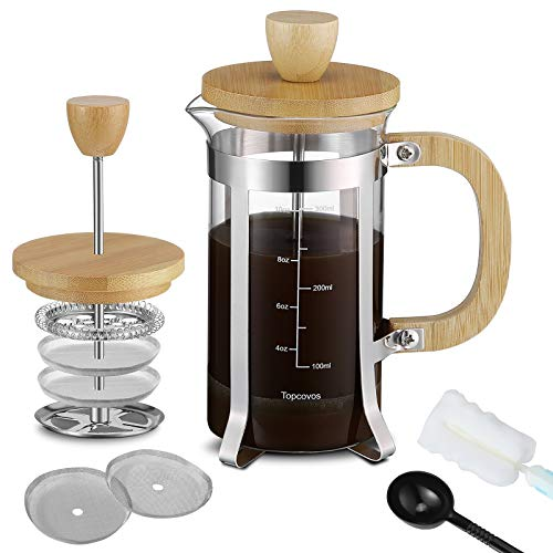 French Press Coffee Maker 12oz(350ml) with Bamboo Lid & Handle Only $7.20 (Retail $17.99)