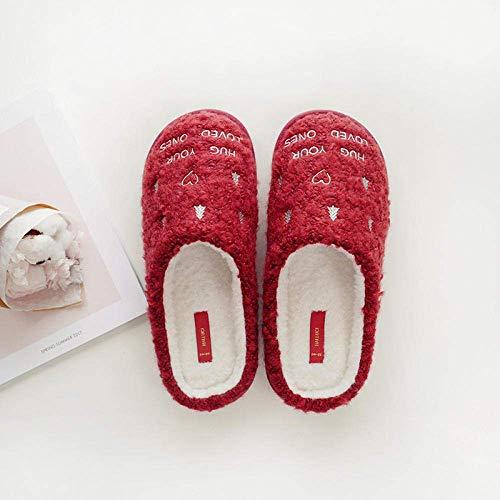 CDNS Zapatillas de mujer Casual Home, Árbol de Navidad rojo Forro de...