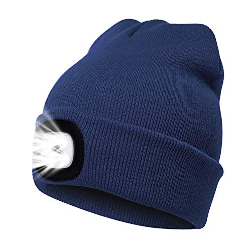 onehous LED Beanie Mütze mit Licht, Unisex USB wiederaufladbare Hände frei 4 LED Scheinwerfer Hut, Einstellbare Helligkeit Taschenlampe für Männer, Warme Winter Strick beleuchtete Kappe - Navy Blau
