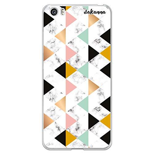 dakanna Funda para [Xiaomi Mi5 / Mi 5] de Silicona Flexible, Dibujo Diseño [Estampado de mármol Blanco y Negro con Figuras géometricas], Color [Borde Transparente] Carcasa Case Cover de Gel TPU