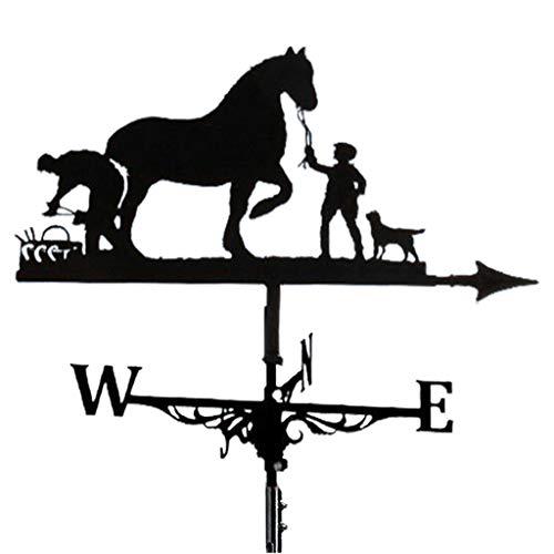 Fenteer Bauernhaus Wetterfahne Dach Montieren, Wind Richtung Anzeige Kit Outdoor Metall Halterung Wetterfahne - Pferd