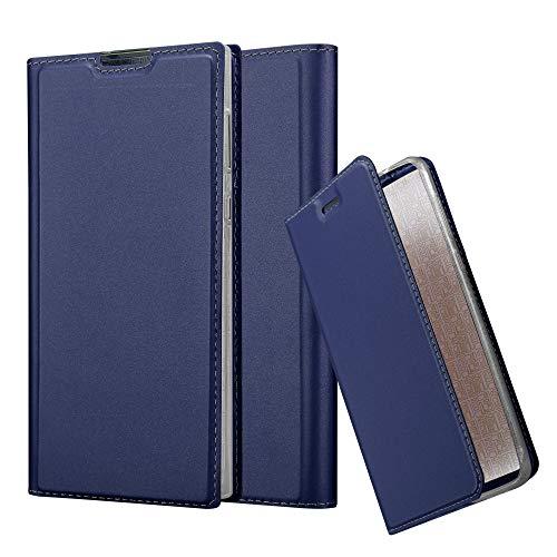Cadorabo Hülle für Sony Xperia L1 in Classy DUNKEL BLAU - Handyhülle mit Magnetverschluss, Standfunktion & Kartenfach - Hülle Cover Schutzhülle Etui Tasche Book Klapp Style