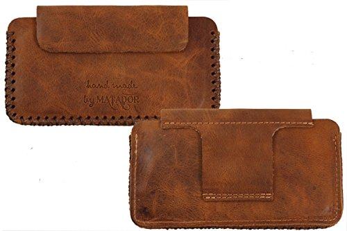 Matador Echt Leder Tasche Case Hülle Handytasche Gürteltasche Quertasche für BQ Aquaris X5 Cyanogen Edition mit verdecktem Magnetverschluß & Gürtelschlaufe in (Hand Made Braun)