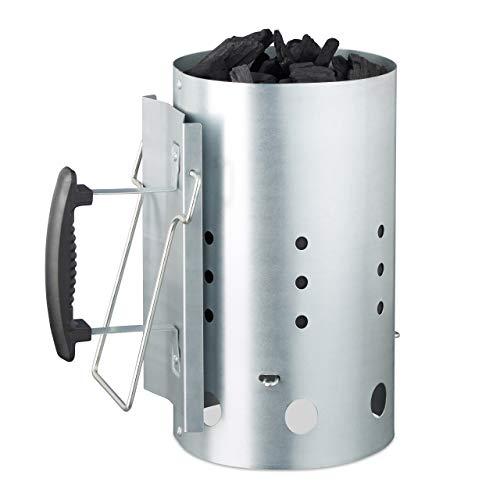 Relaxdays XL Anzündkamin, aus Stahl, Grillkohleanzünder für BBQ, Kamin, Grills, HxD: 30 x 19 cm, Grillstarter, Silber